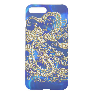 Embossed Gold Dragon on Blue Satin iPhone 7 Plus Case