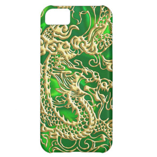 Embossed Gold Dragon on Green Satin iPhone 5C Case