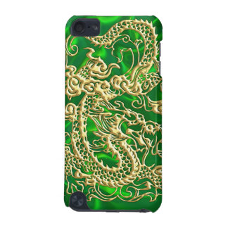 Embossed Gold Dragon on Green Satin iPod Case iPod Touch (5th Generation) Cover