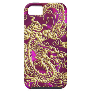 Embossed Gold Dragon on Magenta Satin iPhone 5 Cover