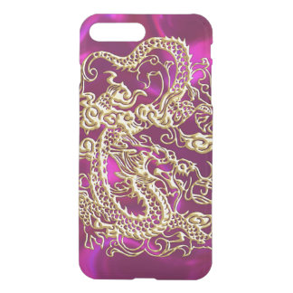 Embossed Gold Dragon on Magenta Satin iPhone 7 Plus Case