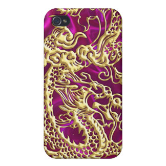 Embossed Gold Dragon on Magenta Satin iPhone Case Cases For iPhone 4