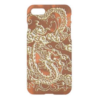 Embossed Gold Dragon on Orange Satin iPhone 7 Case