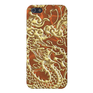 Embossed Gold Dragon on Orange Satin Print iPhone 5/5S Covers