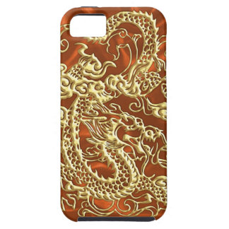 Embossed Gold Dragon on Orange Satin Print iPhone 5 Covers
