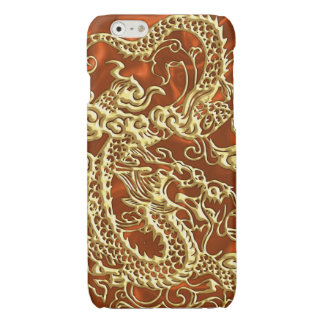 Embossed Gold Dragon on Orange Satin Print iPhone 6 Plus Case