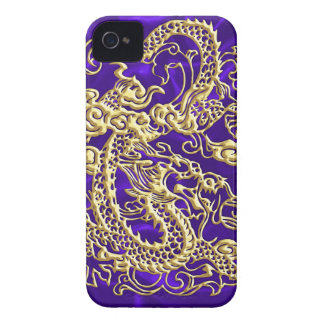 Embossed Gold Dragon on Purple Satin iPhone Case iPhone 4 Cover
