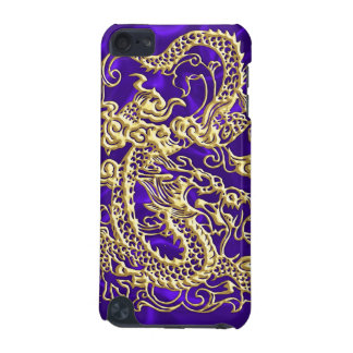Embossed Gold Dragon on Purple Satin iPod Case iPod Touch 5G Case