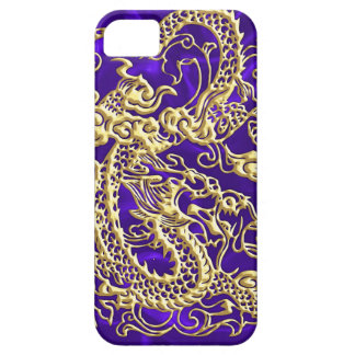 Embossed Gold Dragon on Purple Satin Print iPhone 5 Cover