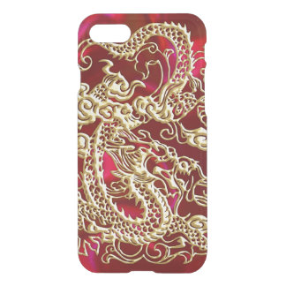 Embossed Gold Dragon on Red Satin iPhone 7 Case