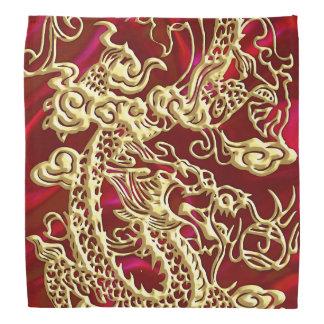 Embossed Gold Dragon on Red Satin Print Bandanna