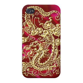 Embossed Gold Dragon on Red Satin Print Cases For iPhone 4