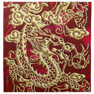 Embossed Gold Dragon on Red Satin Print Napkin