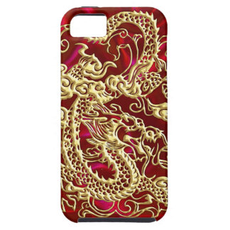 Embossed Gold Dragon Red Satin iPhone Case iPhone 5 Case