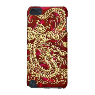 Embossed Gold Dragon Red Satin iPod Case iPod Touch (5th Generation) Case