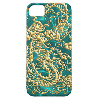 Embossed Gold Dragon Turquoise Satin iPhone Case iPhone 5 Cases