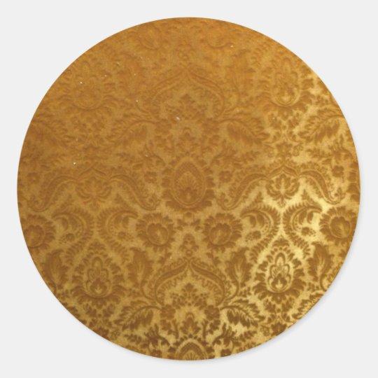 EMBOSSED GOLD VELVET DESIGN CLASSIC ROUND STICKER