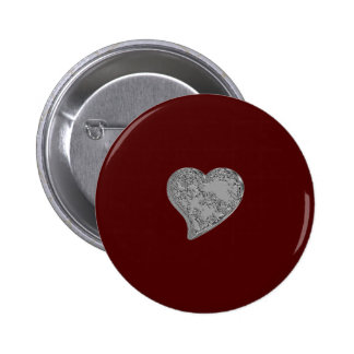 Embossed Heart on Red 6 Cm Round Badge
