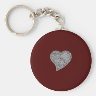 Embossed Heart on Red Basic Round Button Key Ring