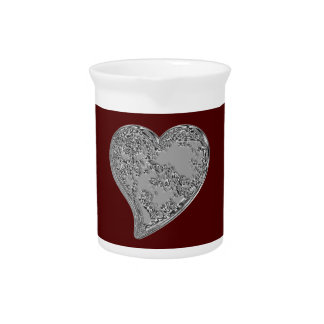 Embossed Heart on Red Drink Pitcher