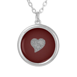 Embossed Heart on Red Round Pendant Necklace