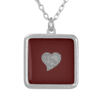 Embossed Heart on Red Square Pendant Necklace