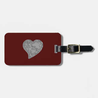 Embossed Heart on Red Travel Bag Tag