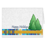 Embossed Holiday Trees Greeting Cards