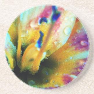Embossed Lily Sandstone Drink Coaster