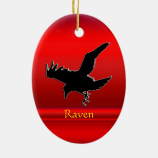 Embossed-look black Raven on red chrome-effect Ceramic Oval Decoration