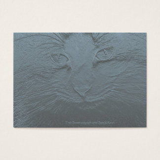 Embossed Look Cat Face Gray Blue Business Card
