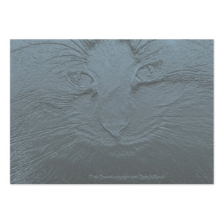 Embossed Look Cat Face Gray Blue Pack Of Chubby Business Cards