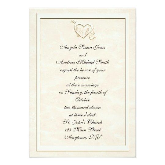 Embossed-Look Heart Frame Wedding Invitation
