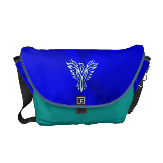 Embossed-look Ice-blue Phoenix on Royal Blue Commuter Bags