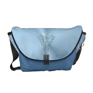 Embossed-look Ice-blue Phoenix Rising Emblem Messenger Bags