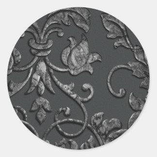 Embossed Look Metallic Damask, Pewter Round Sticker