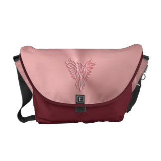 Embossed-look Pink Phoenix Rising image design Messenger Bags