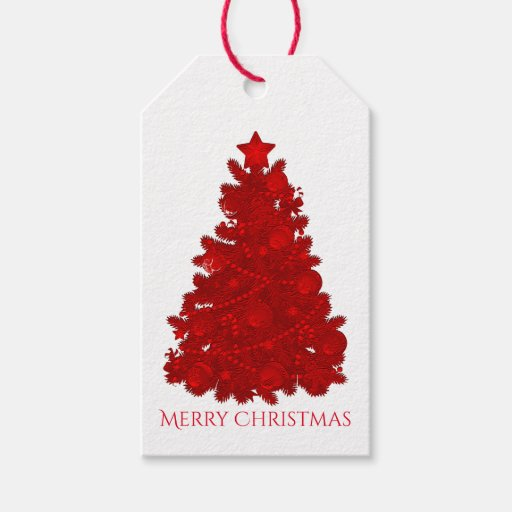Embossed Look Red Christmas Tree Gift Tags