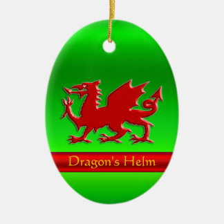 Embossed-look Red Dragon on green chrome-effect Christmas Ornament