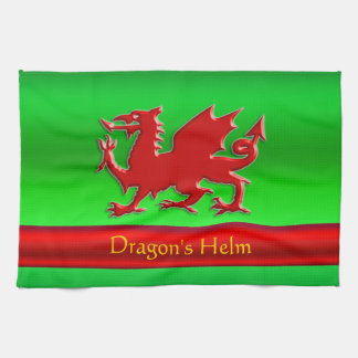 Embossed-look Red Dragon on green chrome-effect Tea Towel
