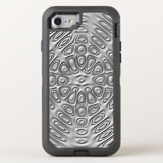 Embossed Look Silver Gray Metal Sand Flower OtterBox Defender iPhone 8/7 Case