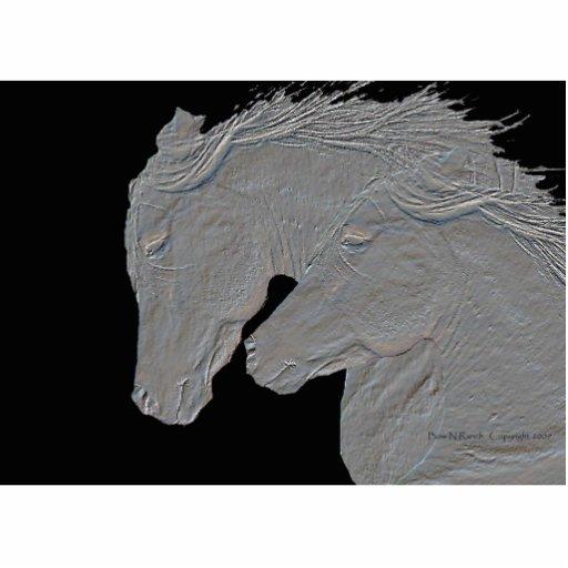 Embossed Look Silver Horses Photo Sculpture Badge