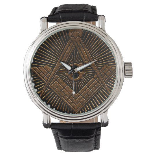 Embossed Masonic square and compass Watch