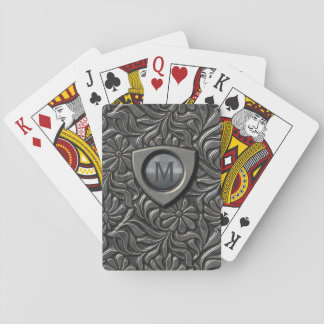 Embossed Metal Shield Monogram ID139 Playing Cards