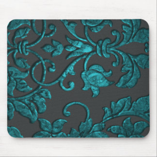 Embossed Metallic Damask, Teal Mouse Mat