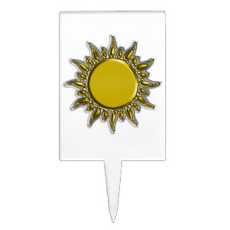 Embossed Metallic Gold Radiant Sun Cake Toppers