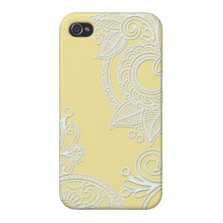 Embossed Paisley - Yellow Covers For iPhone 4