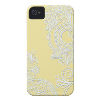 Embossed Paisley - Yellow iPhone 4 Cases