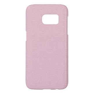 embossed pink blush floral swirls