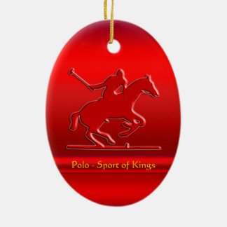 Embossed Polo Pony and Rider, red chrome-look Christmas Ornament